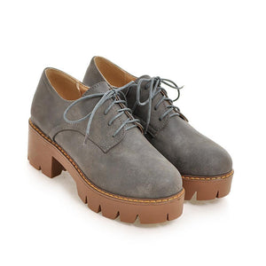 Woman's Lace Up Oxford Shoes Middle Heels