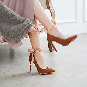 Pointed Toe Shallow Ribbon Women Pumps