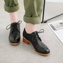 Load image into Gallery viewer, Woman's Lace Up Oxford Shoes Middle Heels Casual Chunkey Heels