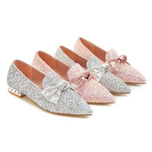 Load image into Gallery viewer, Woman's Sequin Bow Shallow-mouthed Low Heeled Chunky Pumps Shoes