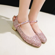 Load image into Gallery viewer, Women's Buckle Sequin Low Heeled Shoes