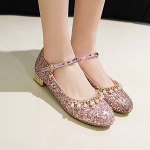 Woman's Sweet Casual Shallow Mouth Low Heeled Chunky Pumps Shoes
