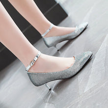 Load image into Gallery viewer, Shallow Mouth Pointed Toe Ankle Strap Woman Stiletto Heel Pumps