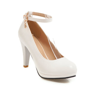 Women's Round Head Buckles High Heel Chunkey Pumps Shoes