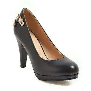 Women's Shallow Mouth High Heel Chunkey Pumps Shoes