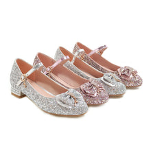 Load image into Gallery viewer, Woman's Sweet Butterfly Sequins Round Head Low Heels Shoes