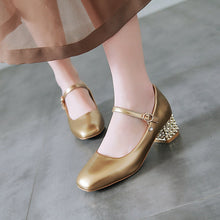 Load image into Gallery viewer, Woman's Square Head Buckle Shallow Mouth Chunkey Middle Heels Pumps
