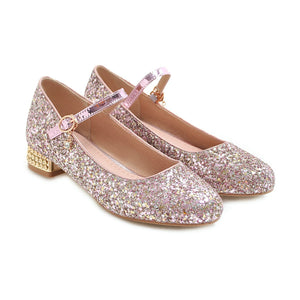 Woman's Square Heel Sequins Buckle Shallow Mouth Low Heels Shoes