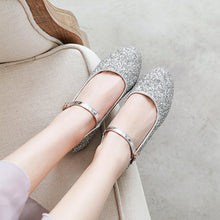 Load image into Gallery viewer, Woman's Square Heel Sequins Buckle Shallow Mouth Low Heels Shoes
