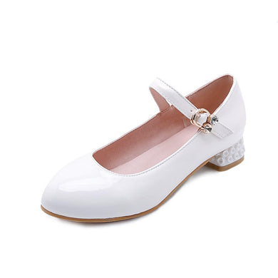 Women's Buckle Belt Shallow Mouth Low Heeled Shoes