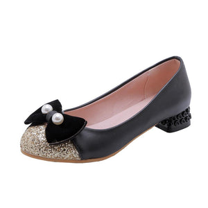 Woman Sequins Low Heel Bowtie Princess Shoes