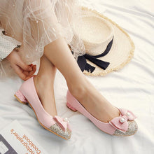 Load image into Gallery viewer, Woman Sequins Low Heel Bowtie Princess Shoes