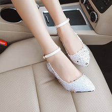 Load image into Gallery viewer, Pointed Toe Sequined Buckle Shoes Woman Pumps Stiletto Mid Heel Shoes
