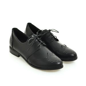 Girls's Lace Up Low Heeled Oxford Shoes