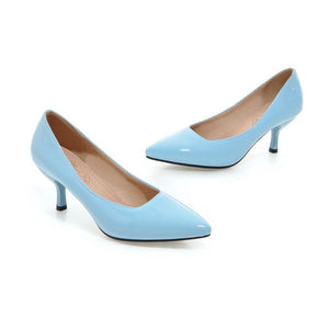 Pointed Toe Shallow-mouth Medium-heeled Woman Pumps Stiletto Heels