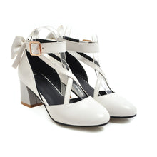Load image into Gallery viewer, Sweet Bow High Heeled Buckle Women Chunky Heels Pumps