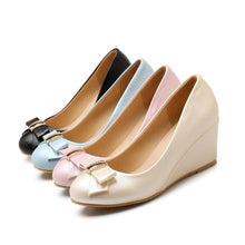Load image into Gallery viewer, Casual Women's Bowknot Shallow-mouth Platform Wedges Shoes