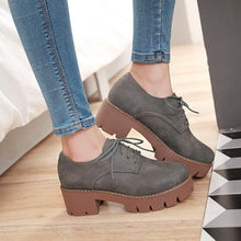 Load image into Gallery viewer, Woman's Lace Up Oxford Shoes Middle Heels