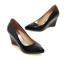 Load image into Gallery viewer, Casual Patent Leather Shallow Pointed Toe Wedges Shoe Women