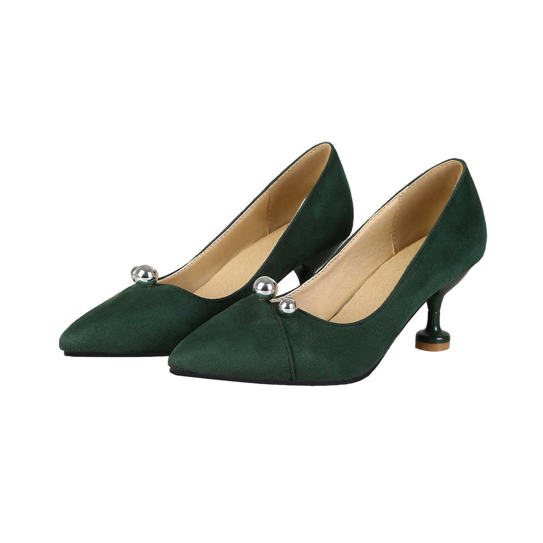 Pointed Toe Shallow Woman Pumps Stiletto Mid Heel Shoes