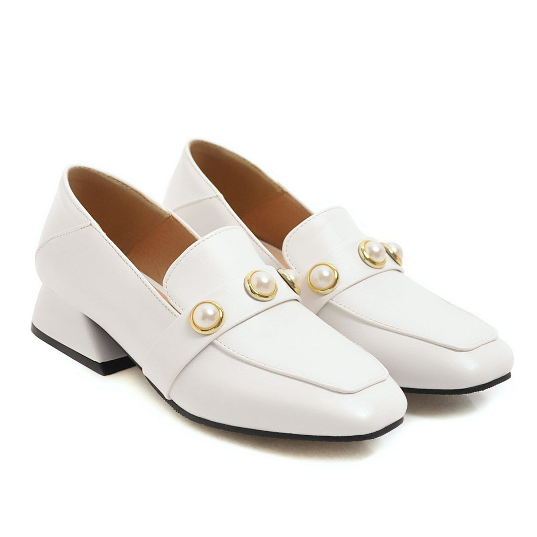 Girls's Shallow Mouth Pearl Low Heeled Pumps