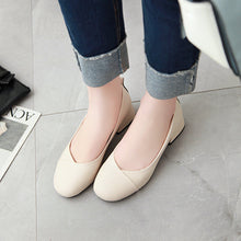 Load image into Gallery viewer, Casual Pu Leather Mid Heeleded Women Chunkey Pumps Shoes