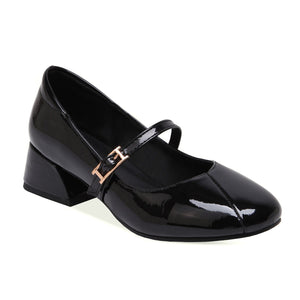 Leisure Shallow Mouth Mary Janes Women Chunkey Pumps Shoes