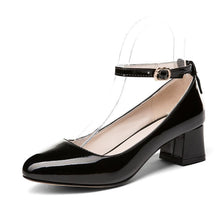Load image into Gallery viewer, Lady Thick Heel Buckle Shallow Ankle Strap Shoes Woman Chunkey Pumps