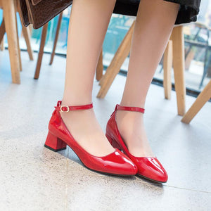 Lady Thick Heel Buckle Shallow Ankle Strap Shoes Woman Chunkey Pumps
