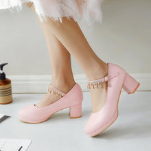 Load image into Gallery viewer, Rhinestone Ankle Strap Platform Pumps High Heels