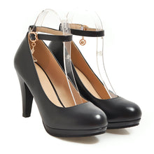 Load image into Gallery viewer, Women's Round Head Buckles High Heel Chunkey Pumps Shoes