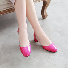 Load image into Gallery viewer, Lady Square Head Shallow Mouth Single Shoe Woman Chunkey Pumps