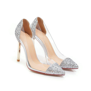 Stiletto Heel Sequined Wedding Shoes Transparent Women Pumps