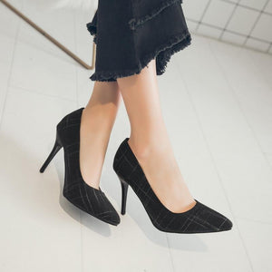 Simple Spring and Autumn Spike Heel Shallow Pointed Toe Women Shoes