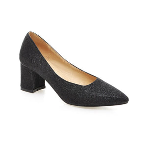 Pointed Toe Glitter Women Pumps Thick-Heeleded Shallow-mouth Sequins Shoe