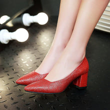 Load image into Gallery viewer, Pointed Toe Glitter Women Pumps Thick-Heeleded Shallow-mouth Sequins Shoe