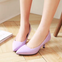 Load image into Gallery viewer, Pointed Toe Shallow-mouth Medium-heeled Woman Pumps Stiletto Heels
