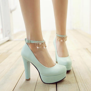 Women's Chunkey Heel Pumps  High Heel Platform Shallow Mouth Shoes