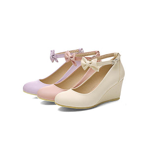 Casual Women's Bow Buckle Platform Wedges Shoes
