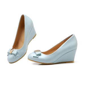 Casual Women's Bowknot Shallow-mouth Platform Wedges Shoes