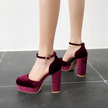 Load image into Gallery viewer, Super High Heeleds Hollow Ankle Strap Platform Pumps