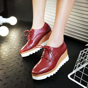 Casual Square Head Lace Up Platform Wedges Oxford Shoes