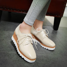 Load image into Gallery viewer, Casual Square Head Lace Up Platform Wedges Oxford Shoes