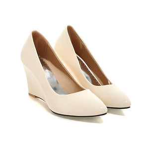 Casual Patent Leather Shallow Pointed Toe Wedges Shoe Women