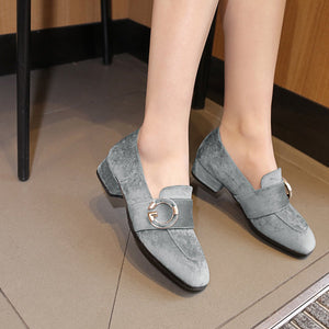 Girls's Suede Low Heeled Chunky Pumps Shoes