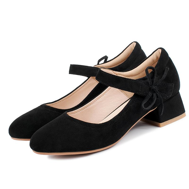 Lady  Shallow Toe Mary Janes Knot Women Chunkey Pumps Shoes