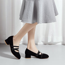 Load image into Gallery viewer, Woman's Square Heel Shallow-mouthed Pumps