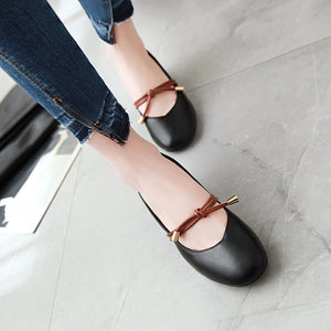 Leisure Square Head Shallow Mouth Mid Heeleded Women Chunkey Pumps Shoes