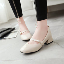 Load image into Gallery viewer, Woman's Square Head Chunkey Heels Pumps Shallow Mouth Middle Heeled Shoes