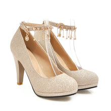 Load image into Gallery viewer, Women's Round Head Rhinestone High Heel Chunkey Pumps Shoes